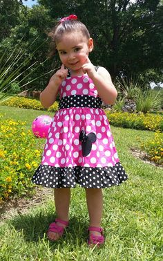 Minnie Mouse Custom Boutique Clothing Med Pink Sassy Girl Dress by amacim on Etsy https://www.etsy.com/listing/154942163/minnie-mouse-custom-boutique-clothing