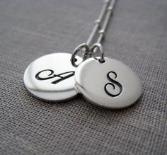 Items similar to Script initial necklace, sturdy sterling silver initial disc charm, cursive initial necklace on Etsy S Love Images, Heart Images, Initial Necklace Silver, Cadeau Couple, Mother Daughter Bracelets, Personalized Gifts For Mom, Personalized Necklace, Couple Jewelry, Fine Jewelry