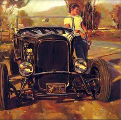 Работы художника Тома Фрица (Tom Fritz). Часть 4. (30 фото) Old Scool, Art Deco Cards, Old Hot Rods, Car Themes, Garage Art, Motorcycle Art, Garage Design, Automotive Art, Weird Art