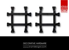 Add a Grid look to your door with Kram Designs Decor Hardware Grid collection.
