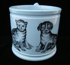 Childs Transferware Slip Mocha Mug ~ CAT & DOG 1840 Not the most beautiful cat and dog but I give it credit because it is from 1840.