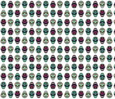 Sugar Skull on White fabric by indescribble on Spoonflower - custom fabric