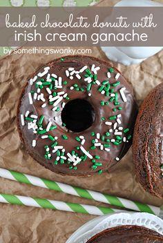 Chocolate #Donuts with #Irish Cream Ganache from www.somethingswan...