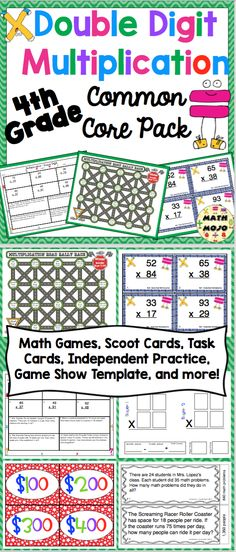 Double Digit Multiplication Common Core Standards Pack - This is perfect for math workshop, centers, enrichment, or remediation. It includes task cards, games, practice sheets, center cards, and a Scoot game. WOW! $