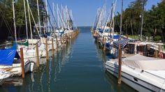 Biking The Lido in the Venice Lagoon. Small port.