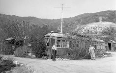 One couple turned an old L.A. streetcar into a home in Sun Valley, circa 1950.