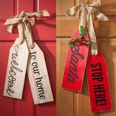 """Welcome to Our Home"""" or """"Santa Stops Here"""" Wood Tags is part of Christmas crafts To Sell - Welcome to Our Home"""" or """"Santa Stops Here"""" Wood Tags are a new trendy update to your front door Find supplies for your DIY tags at Craft Warehouse Christmas Wood Crafts, Christmas Signs, Christmas Projects, Holiday Crafts, Christmas Crafts To Sell Bazaars, Halloween Crafts To Sell, Christmas Crafts To Make And Sell, Santa Christmas, Homemade Christmas"""