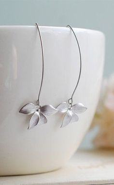Silver Orchid Earrings. Matte Silver Flower Long Dangle