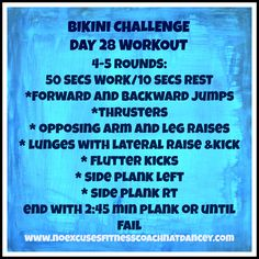 #bikini #challenge #workouts #getfit Day 28 - 50 secs work/10 secs rest. I have a love/hate rel'p with Thrusters but they push you hard.  https://www.facebook.com/groups/292888694222151/