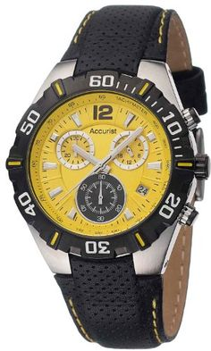 Accurist Chronograph Yellow Dial Black Leather Strap Gents Watch
