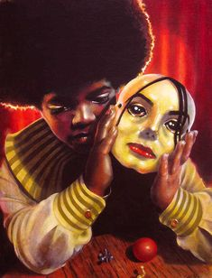 """Boy Behind the Mask"" - michael-jackson Fan Art - Just e-mailed the artist. I need this in my house."