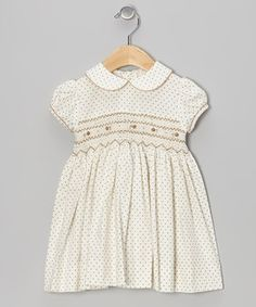 Love this Brown Pink Dot Smocked Dress - Infant by Boutique Collection by Imagewear on #zulily! #zulilyfinds