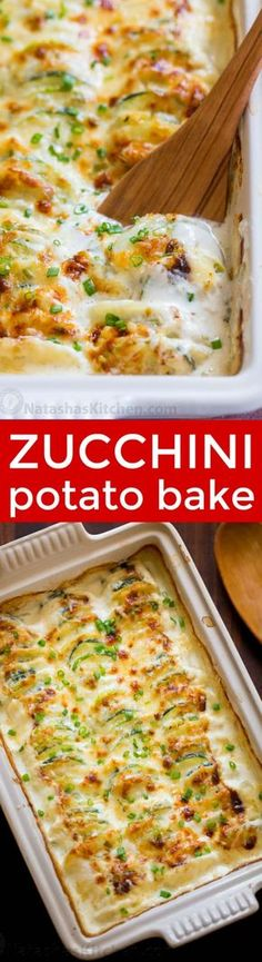 Creamy, cheesy Zucchini Potato Bake in a garlic Alfredo sauce. This potato bake recipe has simple ingredients, comes together quickly and tastes so good! Side Dish Recipes, Vegetable Recipes, New Recipes, Vegetarian Recipes, Favorite Recipes, Recipes Dinner, Potato Dishes, Vegetable Side Dishes, Food Dishes