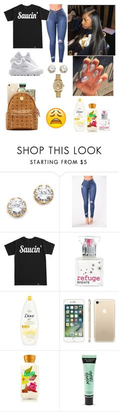 """I haven't posted in FOREVER 😭"" by kayydashiann ❤ liked on Polyvore featuring Kenneth Jay Lane, Rolex, Refuge, Dove, Victoria's Secret and MCM"