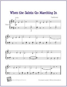 When the Saints Go Marching In | Free Sheet Music for Easy Piano - http://makingmusicfun.net/htm/f_printit_free_printable_sheet_music/when-the-saints-go-marching-in-piano-solo.htm