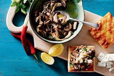 If in doubt, serve bruschetta: that's our motto 'round here. Warren Mendes gives the Italian classic a new kick, with mixed mushies and creamy, crumbly feta.