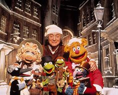 """""""The Muppets Christmas Carol"""" promo still, Michael Caine as Scrooge. This was the first Muppets project without Jim Henson, who died in Paul Williams (""""The Rainbow Connection"""") wrote all the songs for this musical. Jim Henson, Ebenezer Scrooge, Miss Piggy, Kermit, Christmas Carol, Christmas Fun, Muppets Christmas, Christmas Events, Entertainment"""