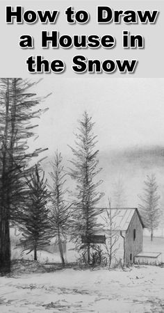 In this lesson we will draw a snow covered landscape where the mist is rolling over the hills towards the house. During the drawing tutorial you will learn : 1) How to draw trees in the mist 2) How to draw trees quickly and easily 3) How to draw the house 4) How to draw a blanket of snow, how to draw, how to draw trees how to draw snow, how to draw mist, landscape drawing tutorial, drawing snow