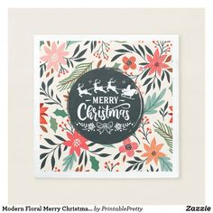 Shop Modern Floral Merry Christmas Poinsettia Pattern Napkins created by PrintablePretty. Holiday Cards, Christmas Cards, Merry Christmas, Xmas, Christmas Paper Napkins, Christmas Typography, Christmas Poinsettia, Corner Designs, Cocktail Napkins