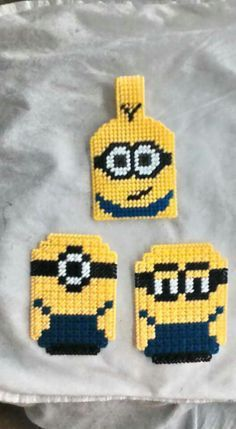 COMPLETED PROJECT PIC by ANIE13 - TWO EYED MINION KEY CHAIN by LISA DAVIS *AND* ULTIMATE CHIBIS - DESPICABLE ME - MINIONS #1 & #2 by JESSE TOWNZEN