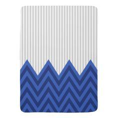 Modern Royal Blue Chevron Gray Stripes Pattern Baby Blanket