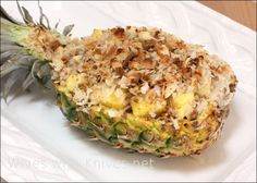 Gratineed Baked Pineapple ~ with gingersnaps, macadamia nuts, sweetened coconut, sweetened condensed milk, dark rum