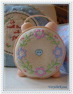 cute crochet clock cushion
