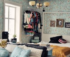 Click Pic for 33 Small Apartment Decorating Ideas - Ceiling Hung Clothing Rack | Studio Apartment Decorating Ideas