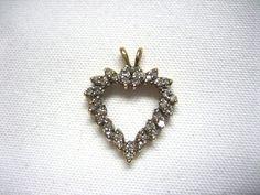 VINTAGE 14K YELLOW GOLD & 34 DIAMOND ESTATE JEWELRY OPEN HEART PENDANT Gold Jewelry, Jewelry Bracelets, Jewellery, Brooch, Jewels, Yellow, Diamond, Pendant, Ebay