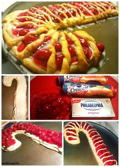 Candy Cane Cheese Danish-Two tubes of crescent rolls 1 package Philly cream cheese; (softened) 1/2 cup powdered sugar 1/2 tsp. pure vanilla extract 1 can cherry pie filling Glaze: 1 cup powdered sugar 1 Tablespoon milk (whole preferred)