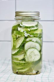 'Tis the season for 10 Minute Refrigerator Dill Pickles. Cucumbers from the garden are ready to go-- DELISH!