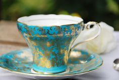 Beautiful Vintage AYNSLEY Tea Cup and Saucer Corset by DadsTeacups. Wow, this one is amazing !!
