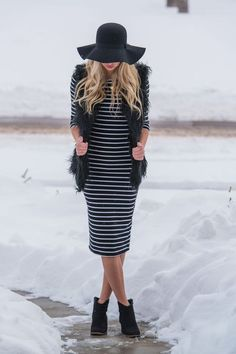 Bethany Striped Midi Dress
