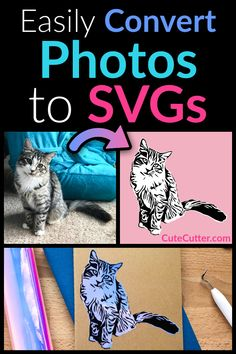 Convert your jpeg, jpg, or png images / pictures to custom SVG cut files for cutting vinyl decals or iron-on heat transfer vinyl (HTV) on Cricut or Silhouette using the Cute Cutter webapp. Inkscape Tutorials, Cricut Tutorials, Cricut Ideas, Vinyl Crafts, Vinyl Projects, How To Use Cricut, Cricut Help, Cricut Air, Vinyle Cricut