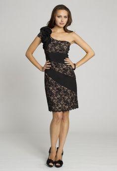 Black One Shoulder Lace Dress, Black Lace Mini Dress, Cocktail Dresses. suit dresses,dress suit,suiting dresses,suiting dress