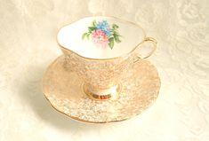 Vintage Gold Chintz Pink Blue Flower Teacup Saucer Windsor China Co-operative Wholesale Society Ltd