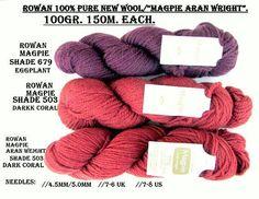 KNITTING WOOL/YARN//*2/Skeins of Rowan Magpie/ &1-Rowan Magpie Aran Weight wool /100% Pure New Wool 100gr.ea.140m./(153 yards) //On Special!