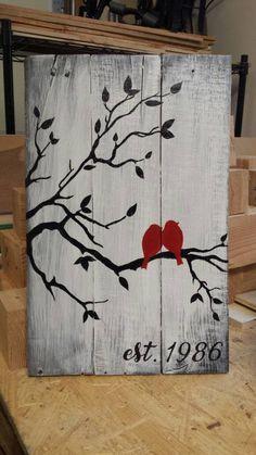 Items similar to Hand painted, love bird painting, customizable date on Etsy Love Birds Painting, Diy Painting, Painting On Wood, Diy Canvas Art, Diy Wall Art, Diy Art, Wood Pallet Art, Reclaimed Wood Art, Wood Block Crafts