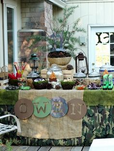Backyard Campout Party Party by Bash Party Styling  #campout #party #table  http://www.facebook.com/BashCandyDessertBuffets?ref=hl