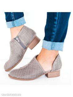 16c62103bb63d Low Heel PU Slip-On Shoes Hollow Chunky Heel Boots – lalasgal