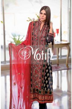 MOTIFZ PRODUCT: MWU00680-BLACK, RETIAL PRICE: 5690, ITEM TYPE: EMBROIDERED LAWN