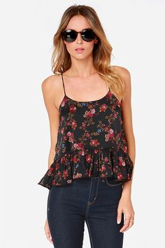 Ruff and Ready Black Floral Print Crop Top at Lulus.com!