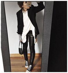 """""""Tenue en entier⚫️⚪️ • Jacket #maje (old) • Wool dress #margauxlonnbergxaudreylombard (on @margauxlonnberg) • Leather #eponymcreation (on @meleponym) •…"""""""