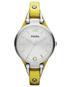 Fossil Watch, Women's Georgia Yellow Leather Strap 32mm ES3220 - Fossil - Jewelry & Watches - Macy's
