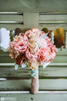 Beautiful wedding bouquet using lace and cloth.