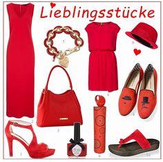 Kirschrot, Koralle oder Pink: die Farbe der Liebe ist  absolute Hingucker. Ob als Komplett-Look oder als Akzent mit strahlenden roten Schuhen und Accesoires.