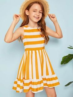 To find out about the Girls Striped Flounce Hem Dress at SHEIN, part of our latest Girls Dresses ready to shop online today! Girls Dresses Online, Little Girl Outfits, Kids Outfits Girls, Little Girl Dresses, Girls Fashion Clothes, Girl Fashion, Fashion Dresses, Cute Short Dresses, Kids Frocks Design