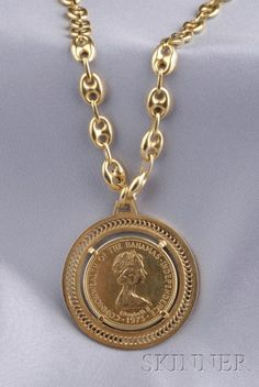 Gold Coin Pendant and Chain Gold Coin Necklace, Coin Jewelry, Jewelry Art, Jewelery, Jewelry Design, Gold Coin Ring, Fashion Necklace, Fashion Jewelry, Gold Chains For Men