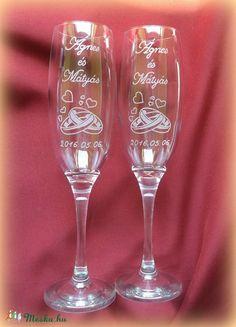 Eljegyzés, esküvő- pezsgős pohár, Esküvő, Konyhafelszerelés, Bögre, csésze, Nászajándék, Meska