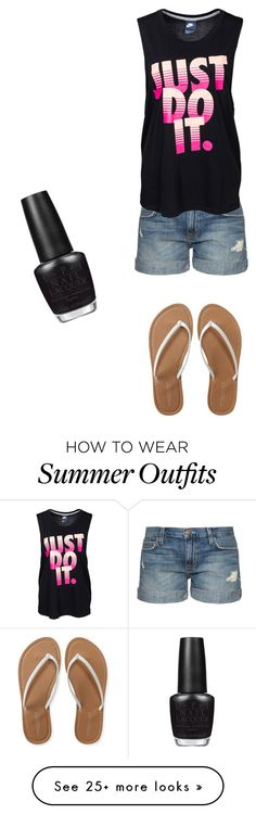 """kadrey's summer outfit"" by kadreyana on Polyvore featuring Current/Elliott, NIKE, Aéropostale, OPI, women's clothing, women, female, woman, misses and juniors"